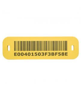 SlimFlex Tag HF ICODE SLIx Barcode 83x25x3 mm Yellow 6x2.5 mm slot